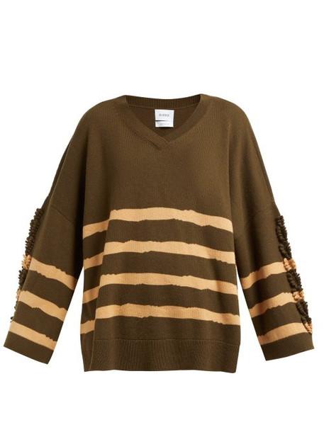Barrie - Fancy Coast Striped Cashmere Sweater - Womens - Green Multi