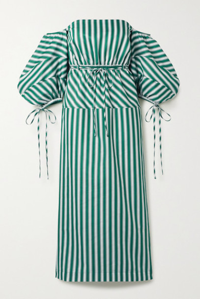 Rosie Assoulin - Off-the-shoulder Striped Cotton-poplin Midi Dress - Green