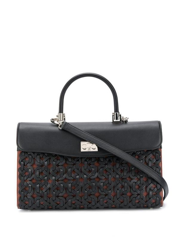 Rodo woven detail tote bag in black