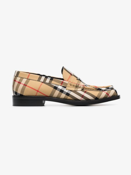 Burberry yellow, black and white Vintage Check Penny Loafers