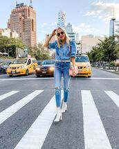 top,denim shirt,ruffle,zara,skinny jeans,ripped jeans,high waisted jeans,ankle boots,white boots,pink bag