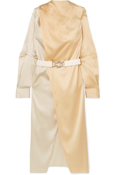 Bottega Veneta - Belted Two-tone Stretch-silk Satin Wrap Dress - Ivory