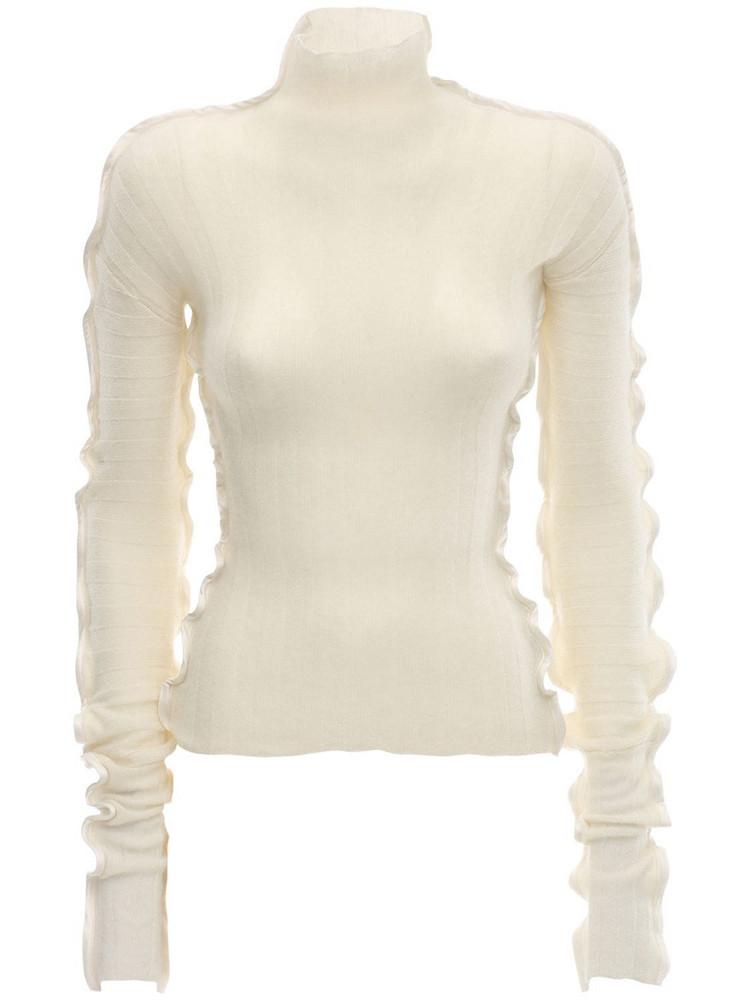 DANIELLE FRANKEL Cashmere Blend Knit Sweater W/ruffle in beige
