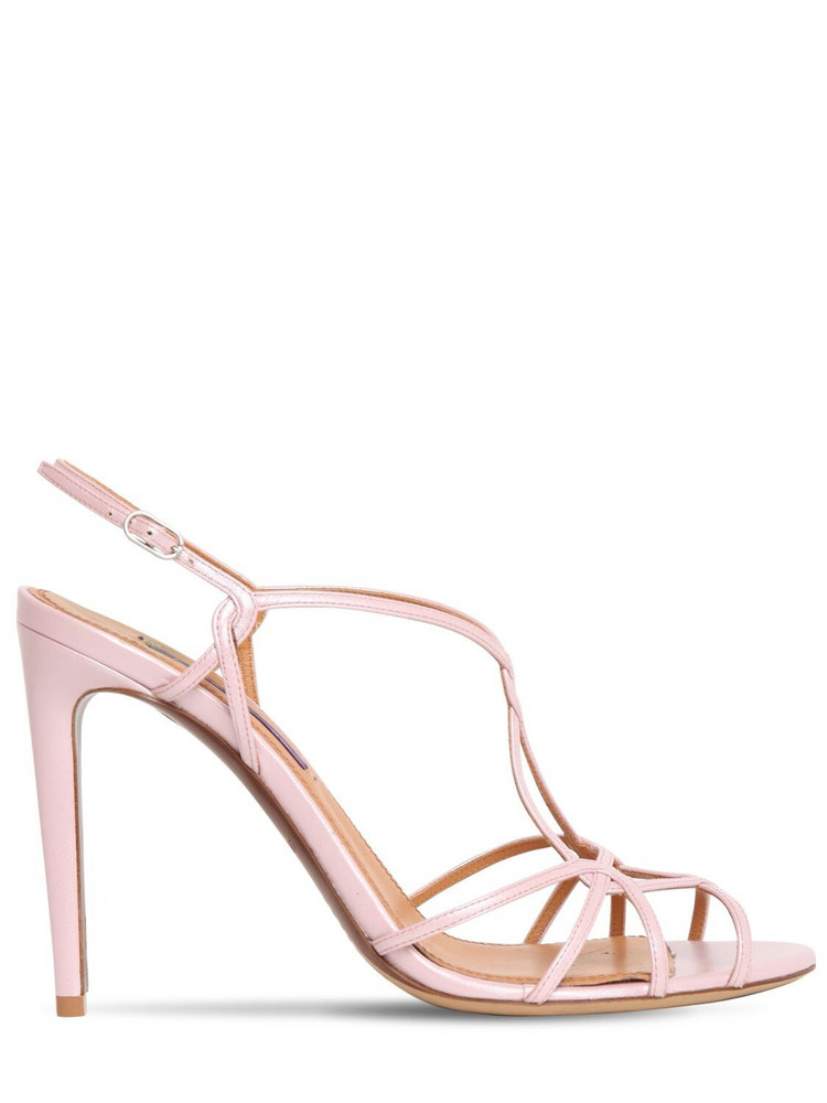 RALPH LAUREN 100mm Metallic Leather Sandals in pink