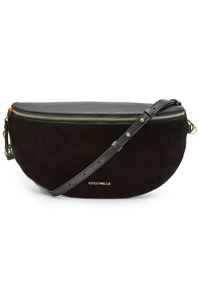 Coccinelle Persefone Leather and Suede Shoulder Bag  in black