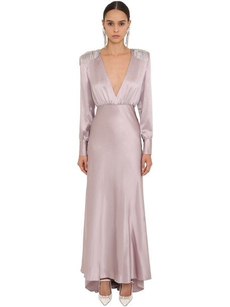 ALESSANDRA RICH Embellished Long Silk Satin Dress in lilac