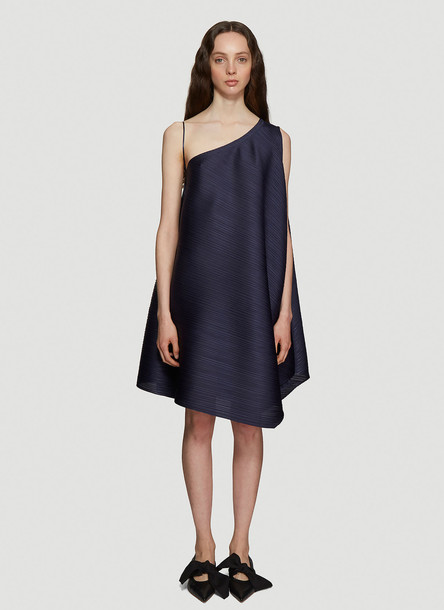 Pleats Please Issey Miyake One Shoulder Pleated Dress in Navy size 3