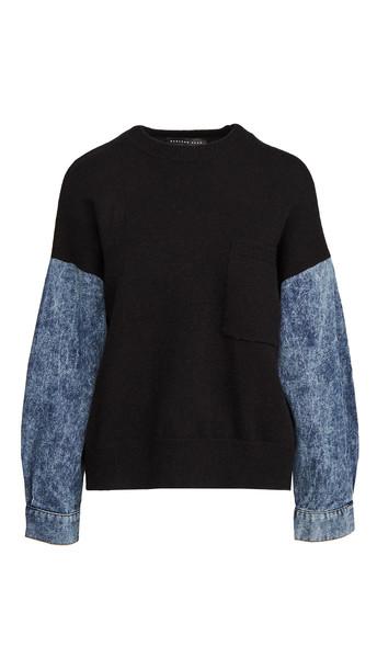 endless rose Denim Sleeve Sweatshirt