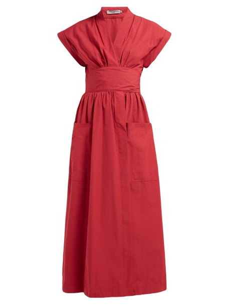 Three Graces London - Clarissa Cotton Midi Dress - Womens - Red