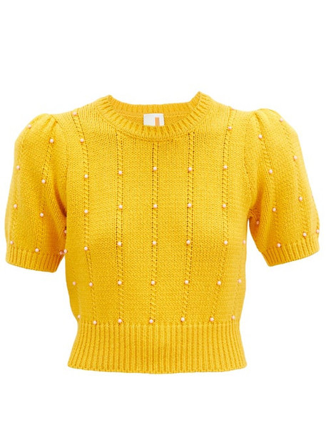 Joostricot - Beaded Cable-knit Cotton-blend Sweater - Womens - Yellow Multi