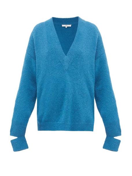 Tibi - Slit Cuff Alpaca Blend Sweater - Womens - Blue