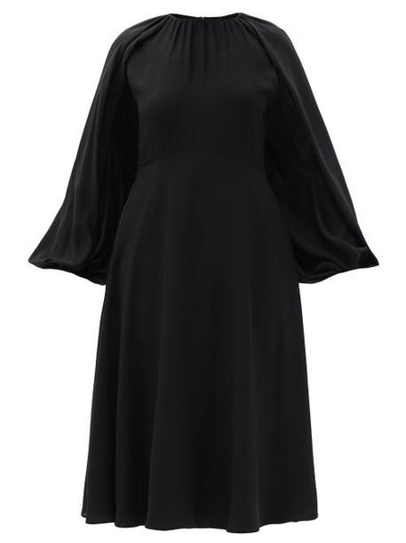 Valentino - Cape-sleeve Silk-georgette Midi Dress - Womens - Black