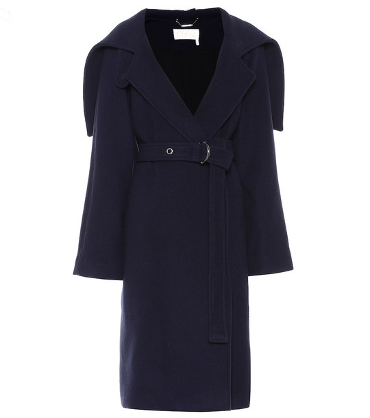 Chloé Belted wool-blend coat in blue