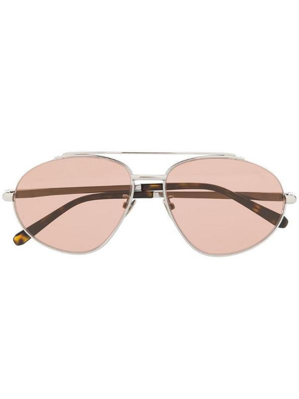 Brioni aviator-frame sunglasses in brown