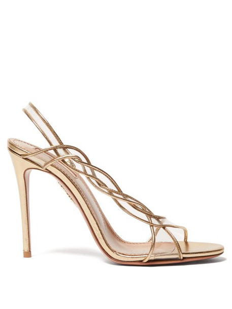 Aquazzura - Swing 105 Pvc And Leather Slingback Sandals - Womens - Gold