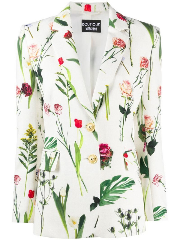 Boutique Moschino floral-print single-breasted blazer in white