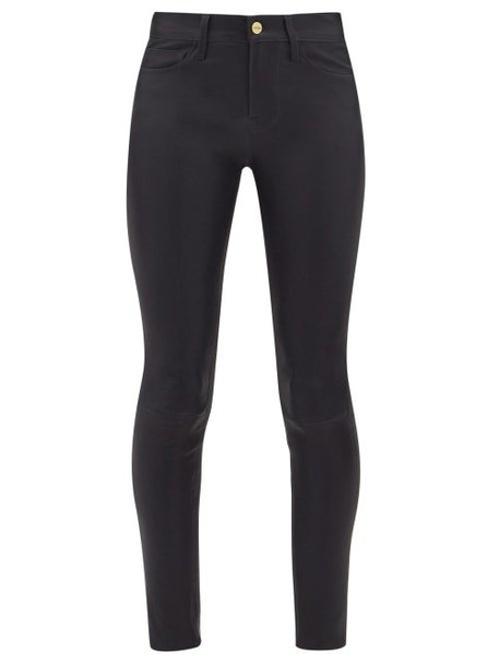 Frame - Le High Skinny Leather Trousers - Womens - Navy