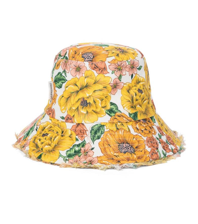 Zimmermann Frayed floral linen bucket hat in yellow