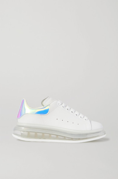Alexander McQueen - Iridescent-trimmed Leather Exaggerated-sole Sneakers - White