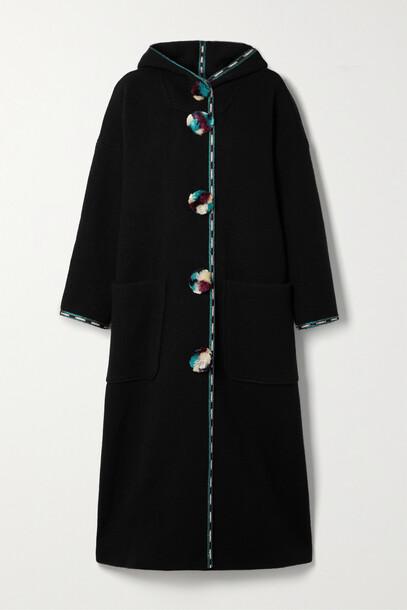 Isabel Marant - Earley Hooded Pompom-embellished Embroidered Wool Coat - Black