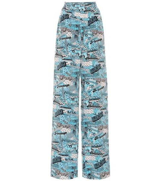 Balenciaga High-rise logo silk pants in blue