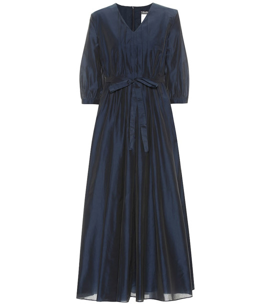 S Max Mara Espero cotton-blend dress in blue