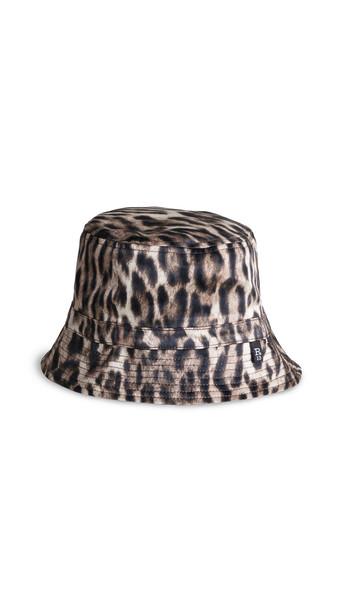 R13 Reversible Bucket Hat in khaki / leopard