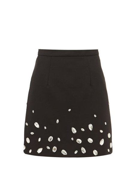 Christopher Kane - Crystal Embellished Crépe Mini Skirt - Womens - Black