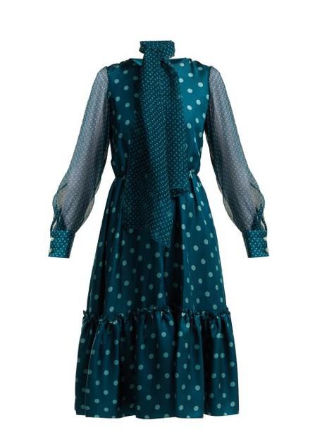 Luisa Beccaria - Polka Dot Silk Midi Dress - Womens - Blue Multi