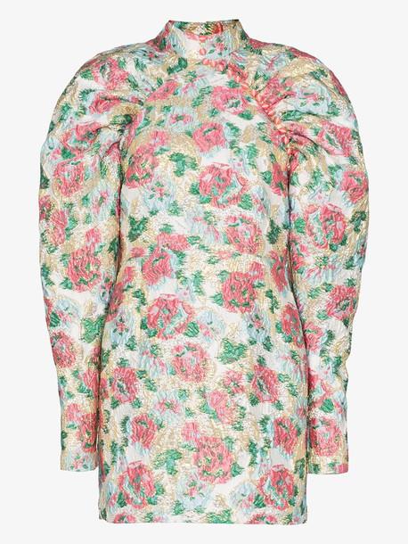 ROTATE Kim rose jacquard mini dress