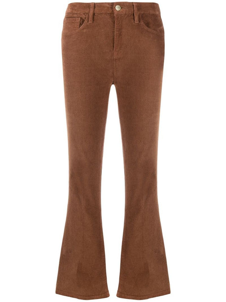 FRAME cropped corduroy jeans in brown
