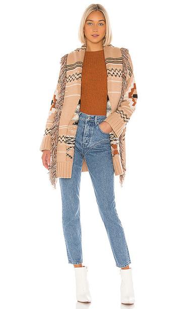 Autumn Cashmere Fringe Belted Jacket in Brown