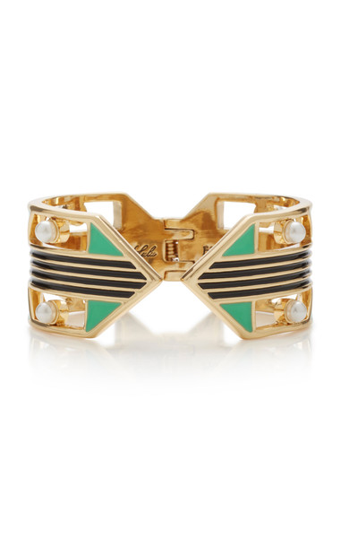 Lulu Frost Verto Gold-Plated Faux Pearl and Enamel Cuff