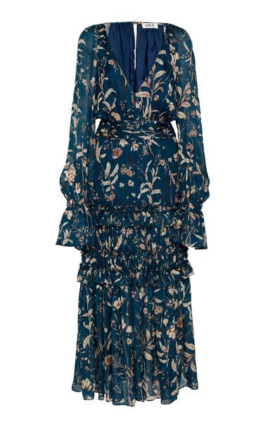AMUR Reah Printed Ruffled V-Neck Silk Dress Size: 2 in print
