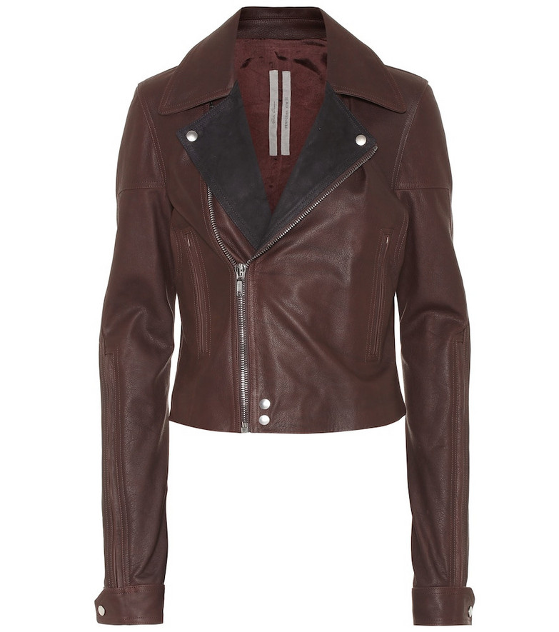 Rick Owens Dracu leather biker jacket in red