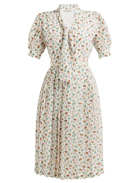 Alessandra Rich - Tropical Print Pleated Back Silk Dress - Womens - White Multi