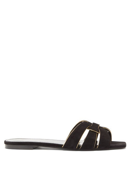 Saint Laurent - Tribute Nu Pieds Suede Slides - Womens - Black Gold