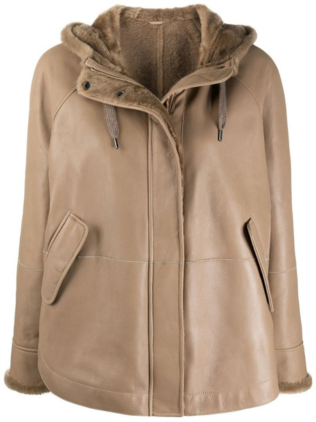 Brunello Cucinelli hooded leather jacket in brown