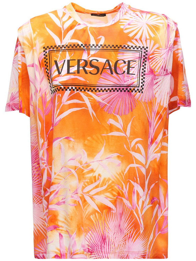 VERSACE Logo Tie Dye Cotton Jersey T-shirt in orange / fuchsia
