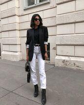 jeans,white jeans,high waisted jeans,straight jeans,black boots,lace up boots,black blazer,black t-shirt,black bag,belt