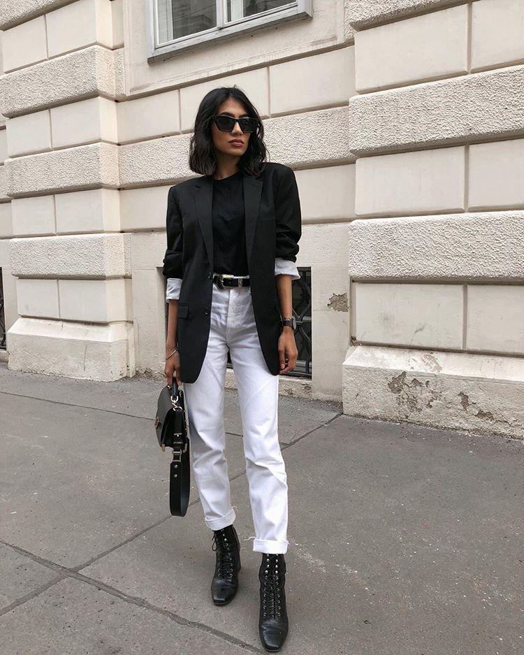 jeans white jeans high waisted jeans straight jeans black boots lace up boots black blazer black t-shirt black bag belt