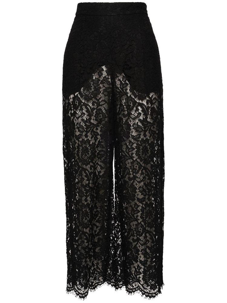 VALENTINO High Waist Heavy Lace Pants in black