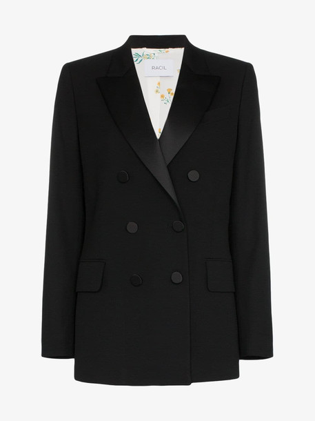 Racil Casablanca collared double-breasted blazer in black