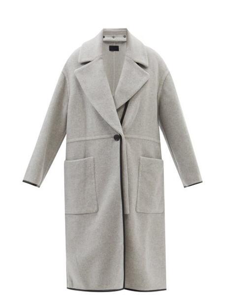Proenza Schouler - Faux-leather Trim Double-faced Cashmere Coat - Womens - Grey