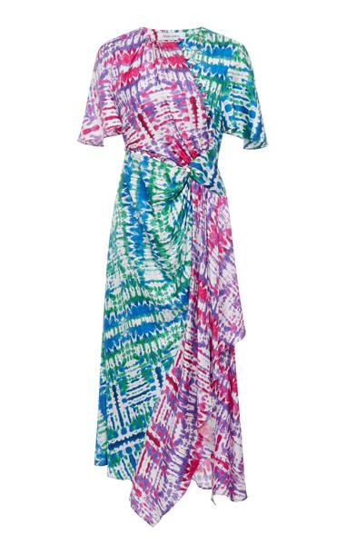 Prabal Gurung Tie-Dye Silk Asymmetric Midi Dress Size: 8 in print