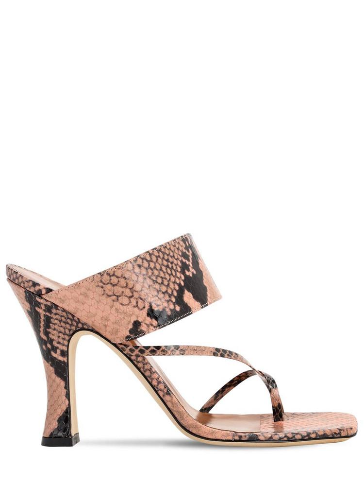 PARIS TEXAS 90mm Python Print Leather Thong Sandals in blush