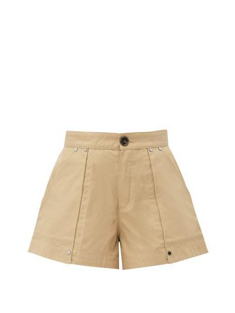 Chloé Chloé - Patch Pocket Cotton Canvas Shorts - Womens - Light Brown