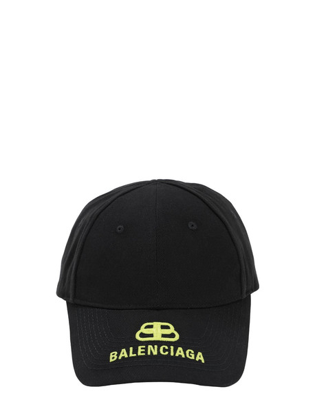 BALENCIAGA New Logo Embroidered Cotton Baseball Hat in black