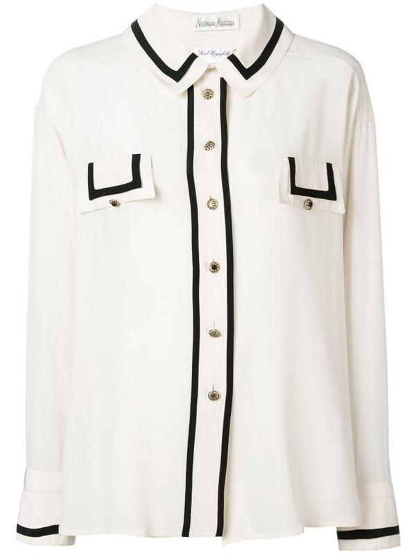 Rewind Vintage Affairs 1980's contrast detail shirt in neutrals