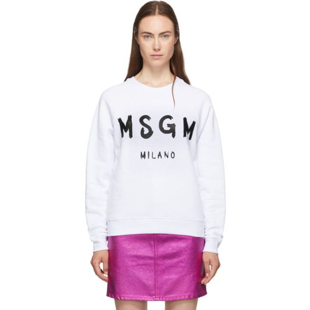 MSGM White Paint Brushed Logo Sweatshirt